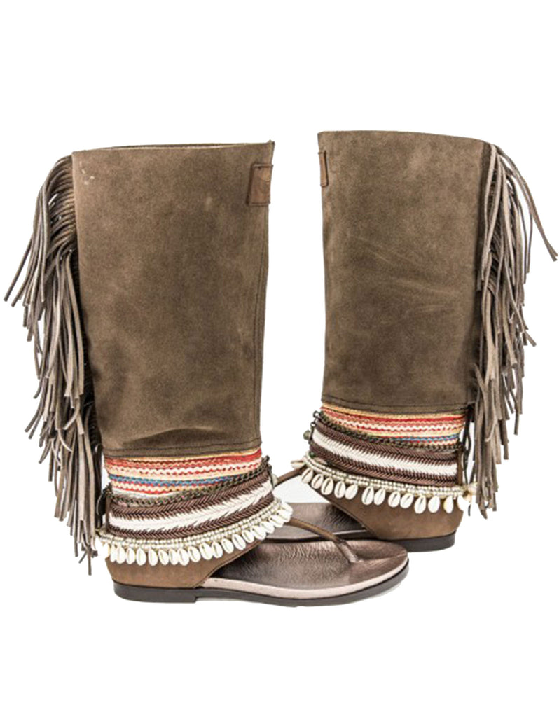 Boho High Boot Sandals - Brown - SWANK - Shoes - 5