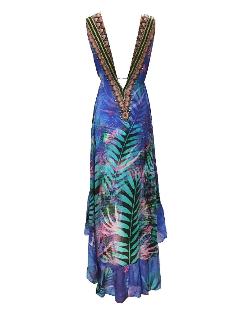 Shahida Parides Queen Palm V-Neck Embellished High-Low Dress in Blue - SWANK - Dresses - 2