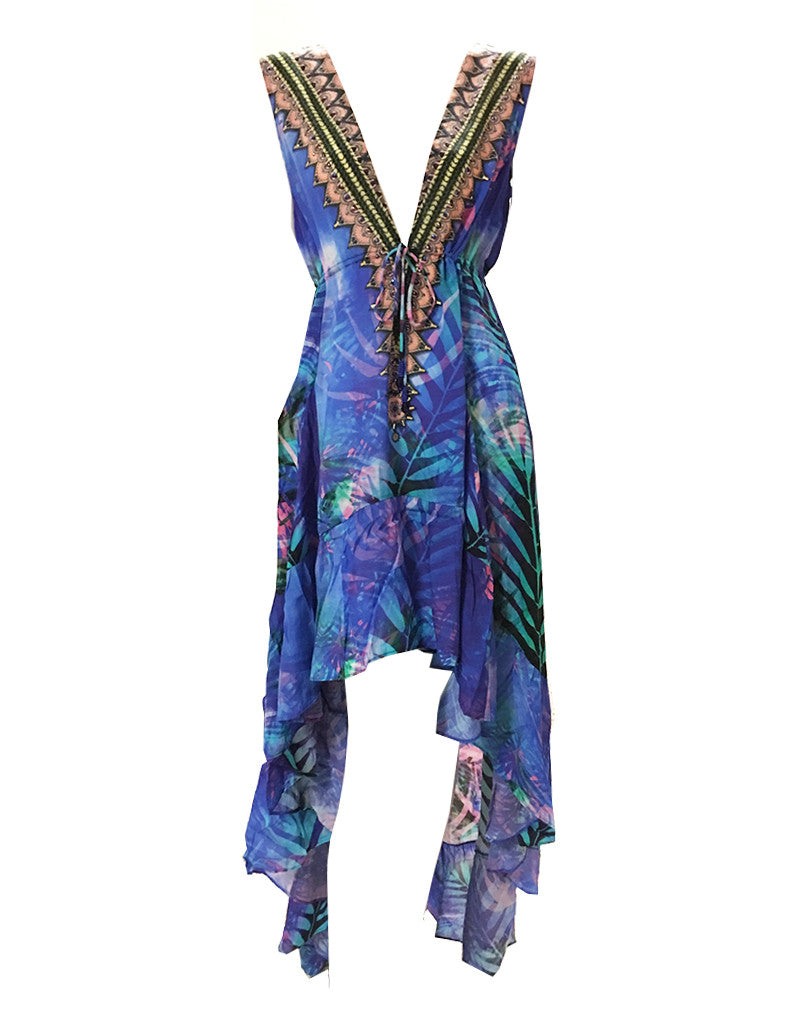 Shahida Parides Queen Palm V-Neck Embellished High-Low Dress in Blue - SWANK - Dresses - 1