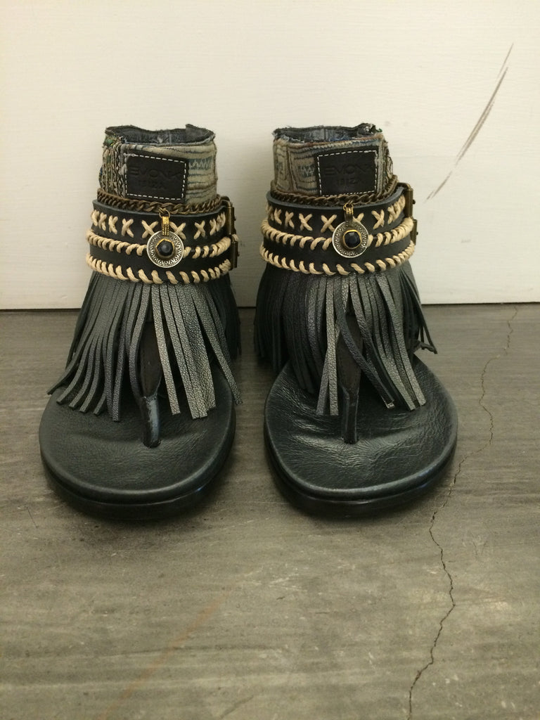 "BOHO SANDALS- ""Custom made black fringe sandals"" - SWANK - Shoes - 6"