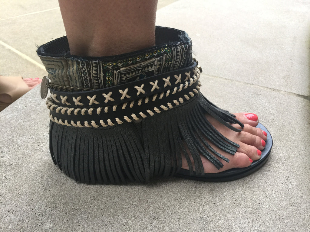 "BOHO SANDALS- ""Custom made black fringe sandals"" - SWANK - Shoes - 4"