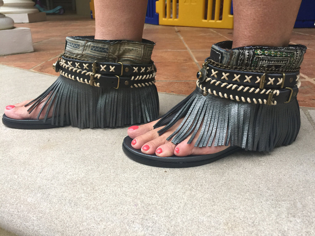 "BOHO SANDALS- ""Custom made black fringe sandals"" - SWANK - Shoes - 3"