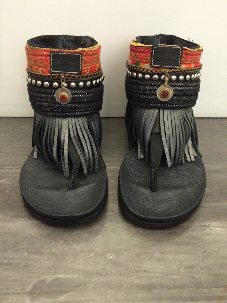 "BOHO SANDALS- ""Custom made black fringe sandals"" - SWANK - Shoes - 5"