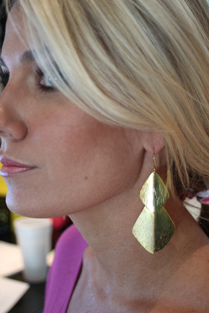 Double Bent Leaf Chandelier Earrings in Gold - SWANK - Accessories - 1