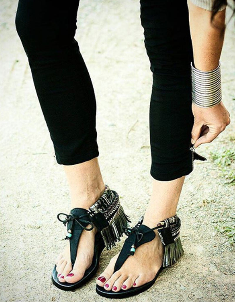 INDIE BOHO SANDALS - BLACK - SWANK - Shoes - 7