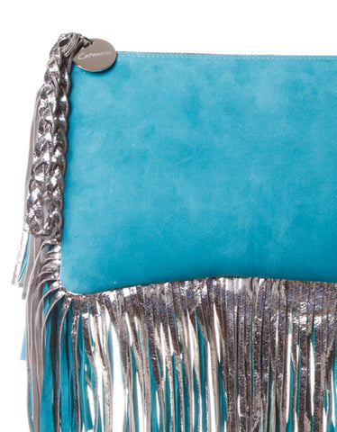 Capazonia Istambul Fringe Clutch in Blue Suede