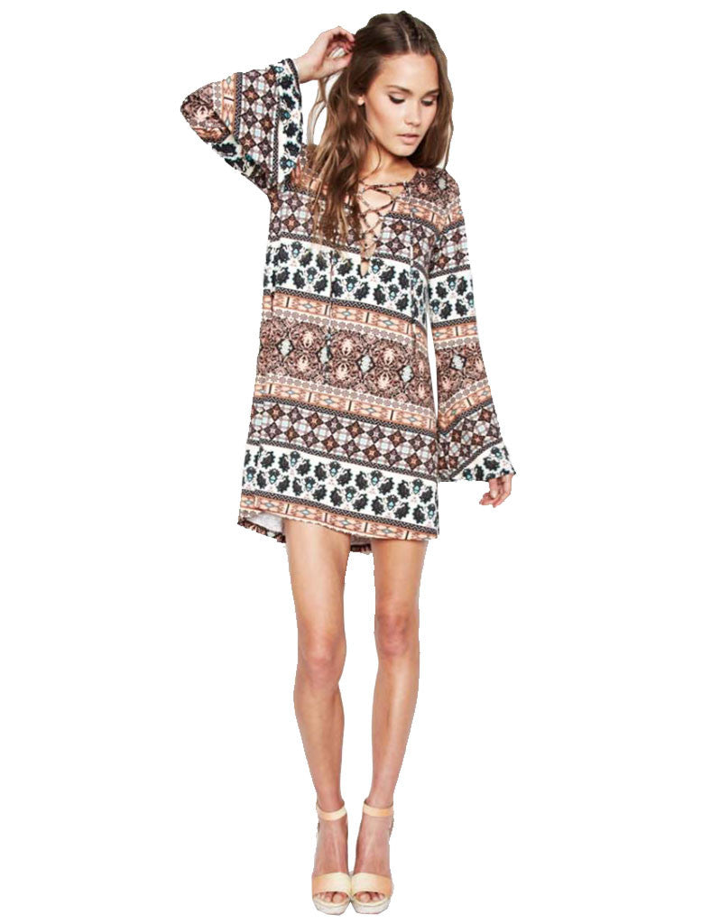 Michael Lauren Jimi Lace Up Bell Sleeve Dress in Sequoia - SWANK - Dresses - 1