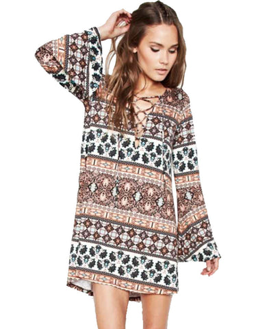 Michael Lauren Jimi Lace Up Bell Sleeve Dress in Sequoia