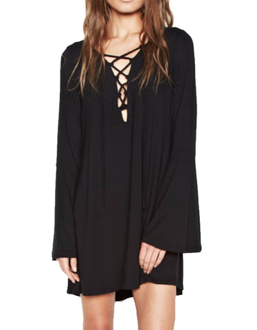 Michael Lauren Jimi Lace Up Bell Sleeve Dress in Black