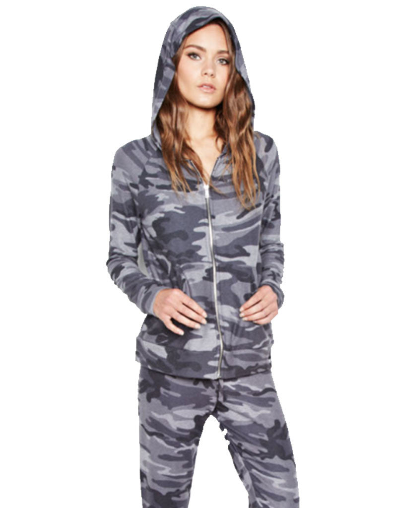 Michael Lauren Junior Fitted Zip Up Hoodie in Asphalt Camo - SWANK - Tops - 1