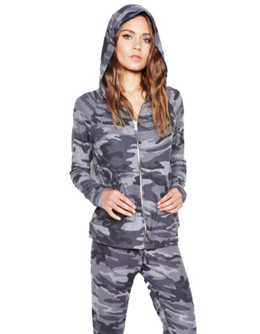 Michael Lauren Junior Fitted Zip Up Hoodie in Asphalt Camo