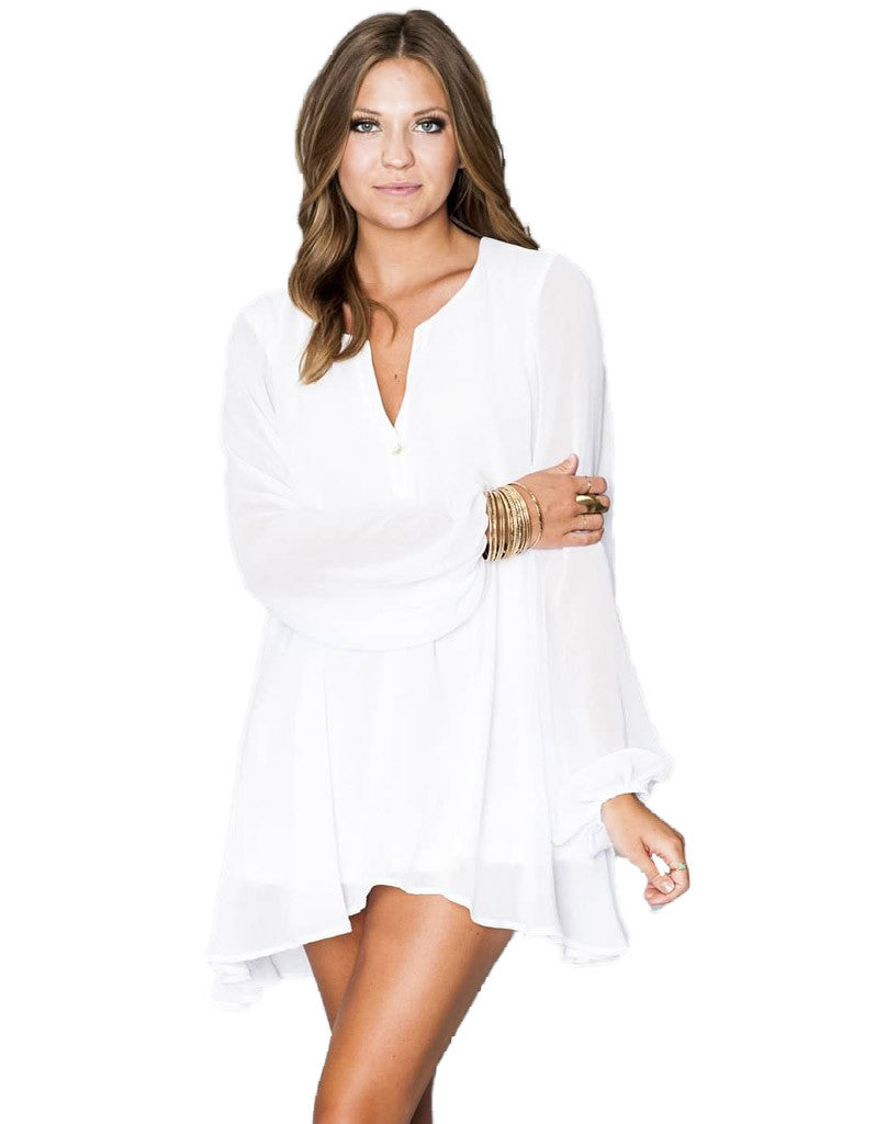 Show Me Your Mumu Jamie Tunic in White Sheer Chiffon - SWANK - Tops