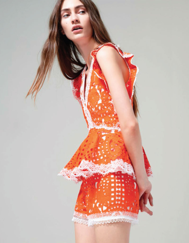 Alexis Giselle Lace Shorts in Tangerine - SWANK - Shorts - 1