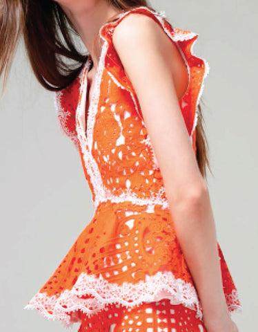 Alexis Jen Lace Top in Tangerine