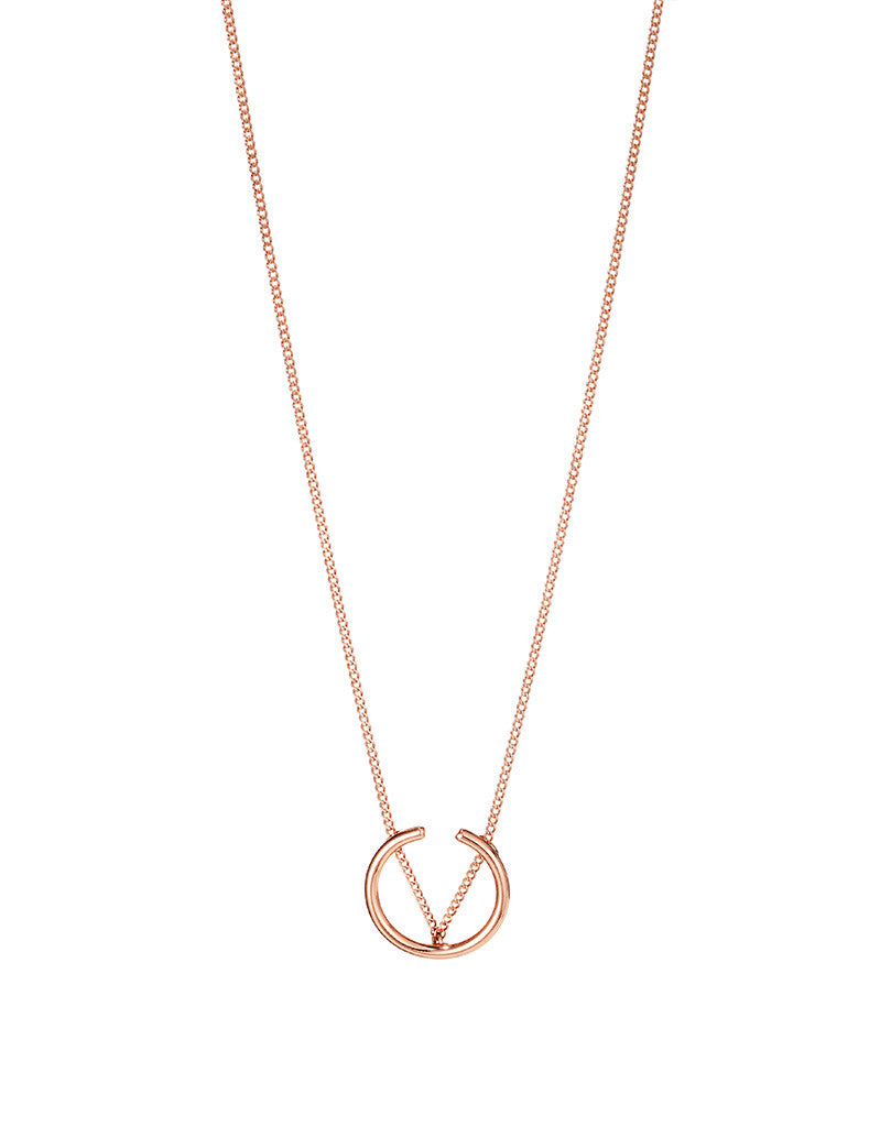 Jenny Bird Arc Pendant in Rose Gold - SWANK - Jewelry - 1