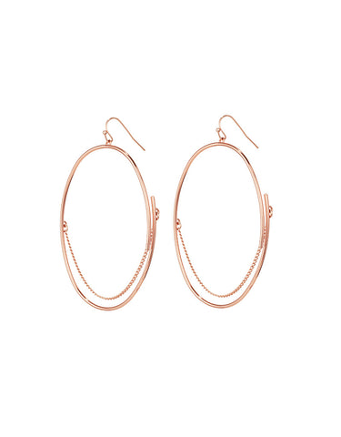 Vintage Snoot Chain Drop Earrings in Rose Gold