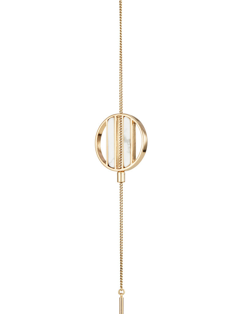 Jenny Bird Rhine Lariat Necklace in Gold/Howlite