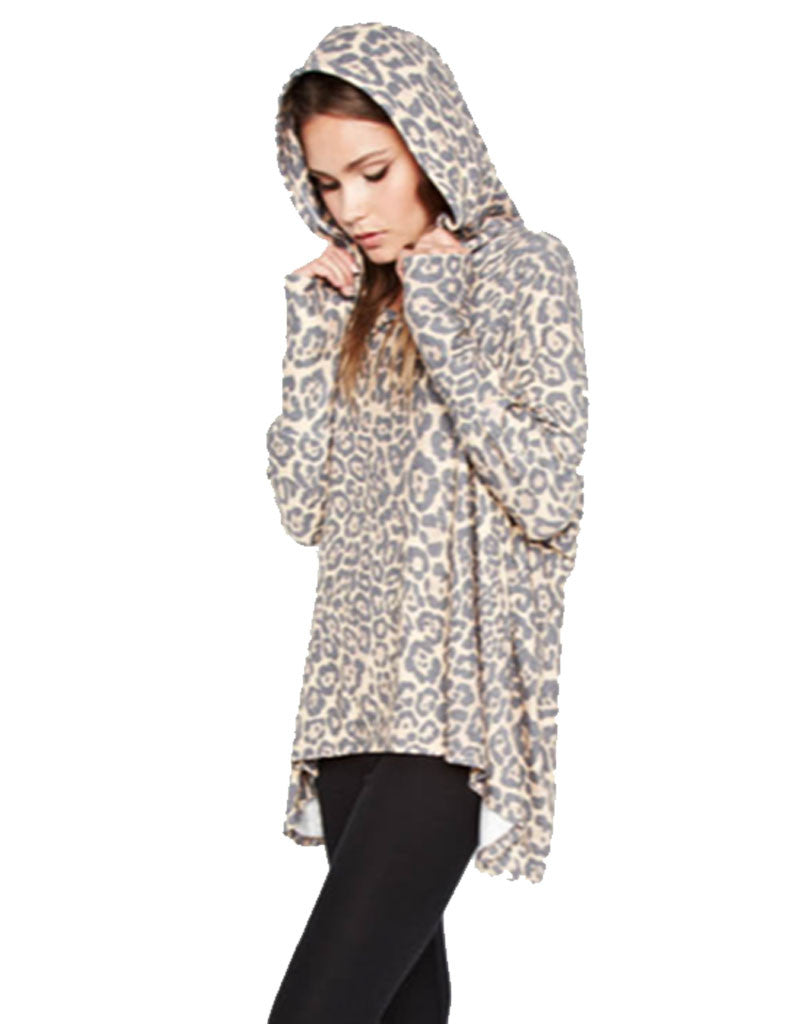 Michael Lauren Kayo Oversized Pullover in Tan Leopard - SWANK - Tops - 2