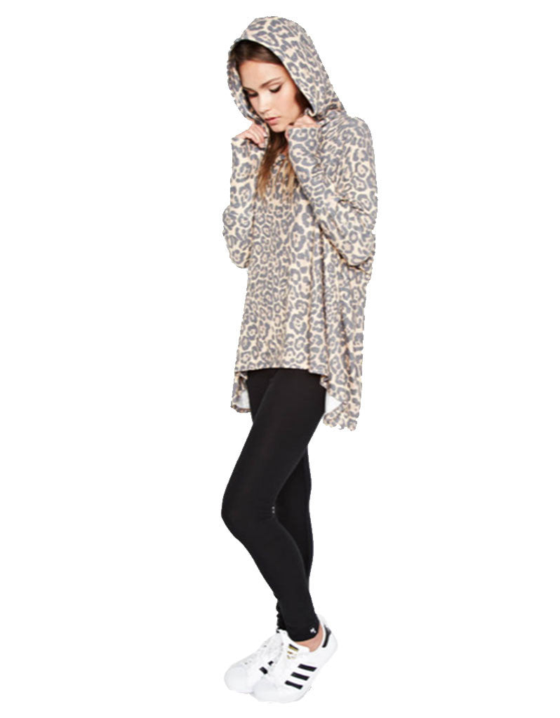 Michael Lauren Kayo Oversized Pullover in Tan Leopard - SWANK - Tops - 1