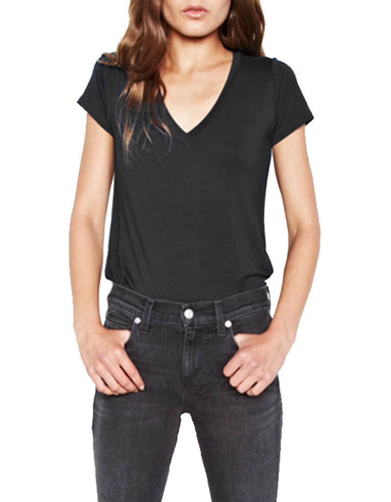 Michael Lauren Kendrick Fitted V-Neck Tee - SWANK - Tops - 2