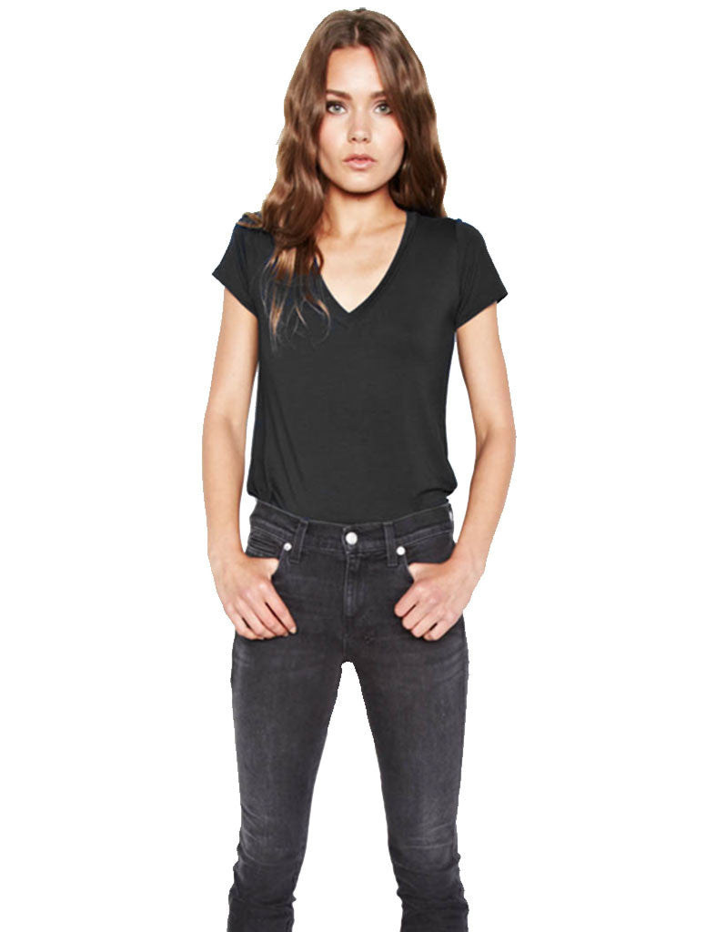 Michael Lauren Kendrick Fitted V-Neck Tee - SWANK - Tops - 1