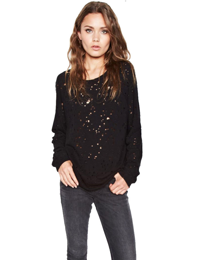 Michael Lauren Kenny Pullover w/Holes in Black - SWANK - Tops - 1