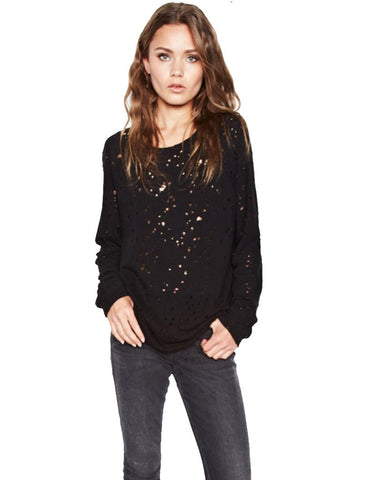 Michael Lauren Kenny Pullover w/Holes in Black