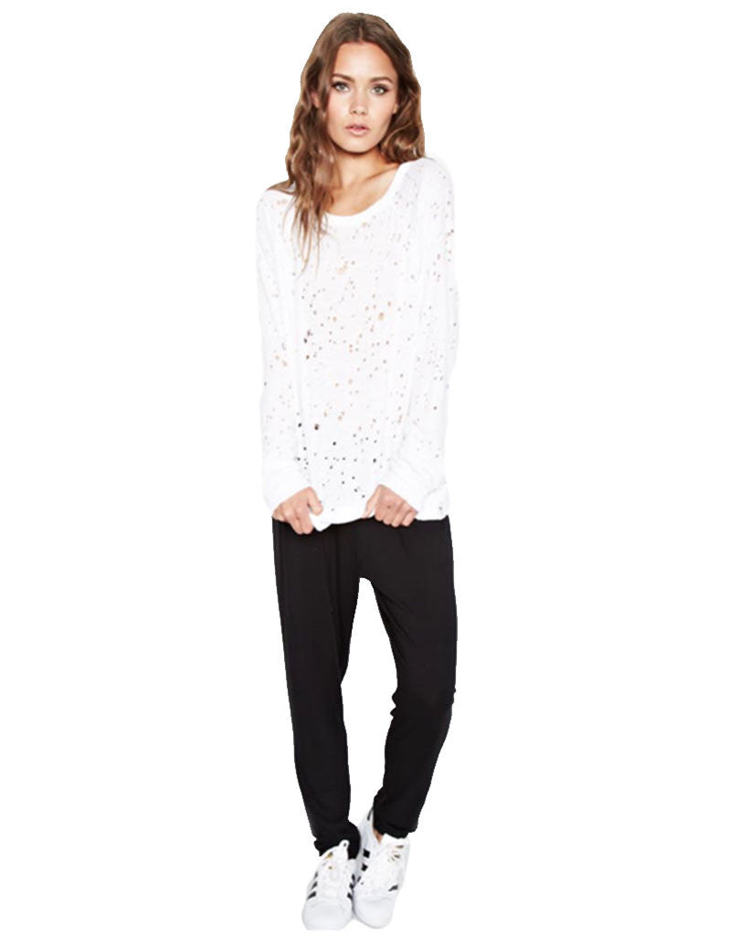 Michael Lauren Kenny Pullover w/Holes in White - SWANK - Tops - 1