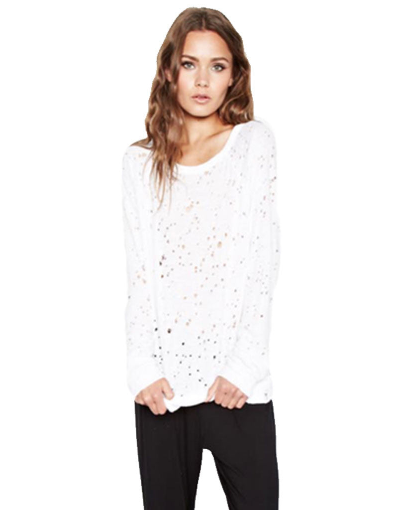 Michael Lauren Kenny Pullover w/Holes in White - SWANK - Tops - 2