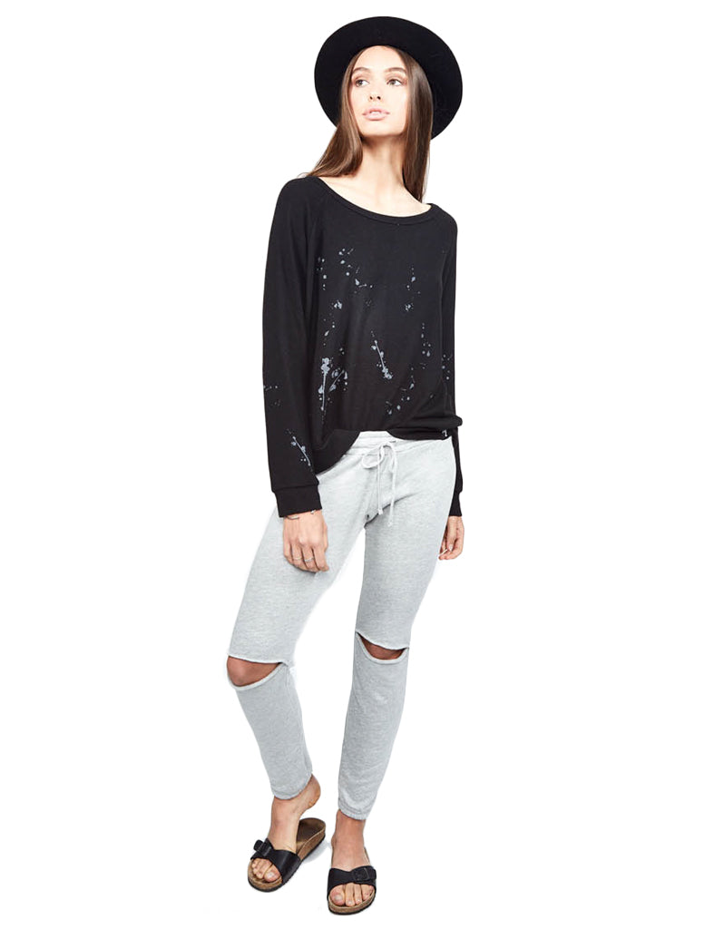 Michael Lauren Kenny Pullover w/Splatter in Black