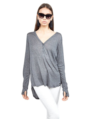 Michael Lauren Kobe V-Neck Henley w/Tail in Charcoal