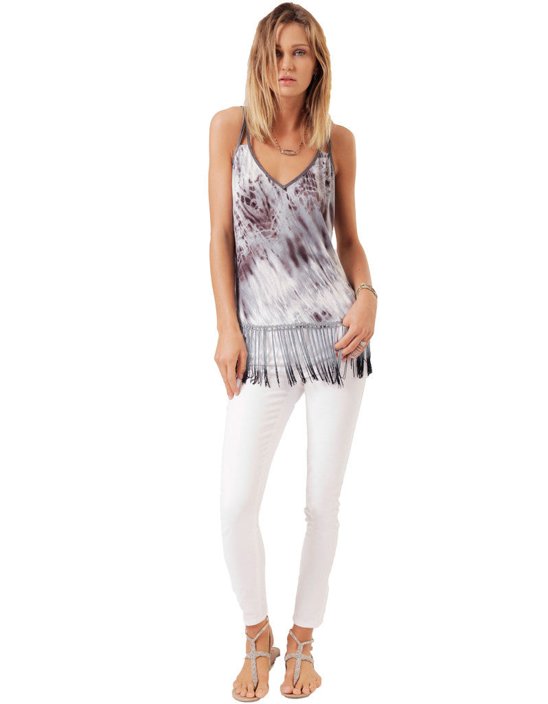 SW3 Bespoke Kalina Tank with Fringe in Blue Tie Dye - SWANK - Tops - 2