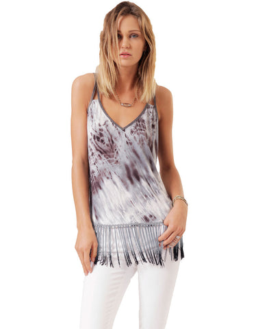 SW3 Bespoke Kalina Tank with Fringe in Blue Tie Dye