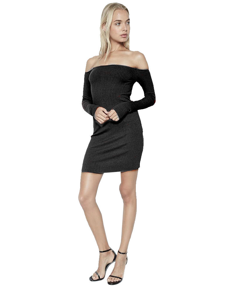 Michael Lauren Karl Open Shoulder Body Shaper Dress in Black - SWANK - Dresses - 1
