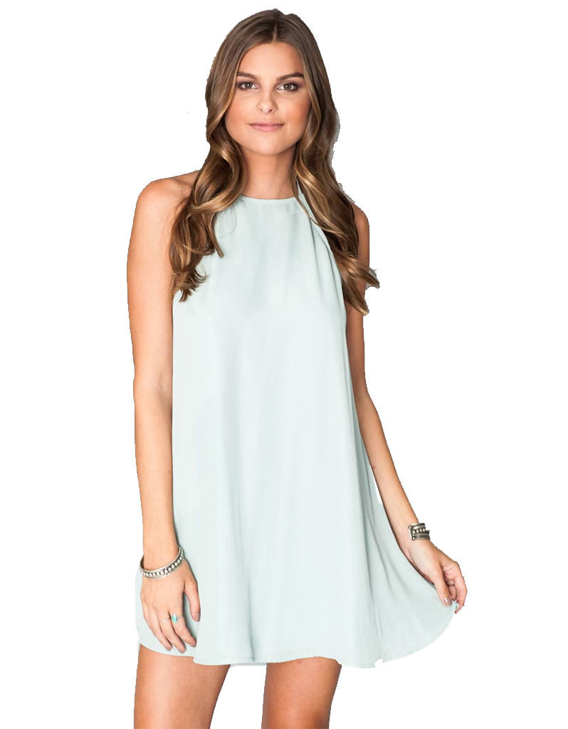 Show Me Your Mumu Katy Halter Dress in Sea Mist Crisp - SWANK - Dresses - 2