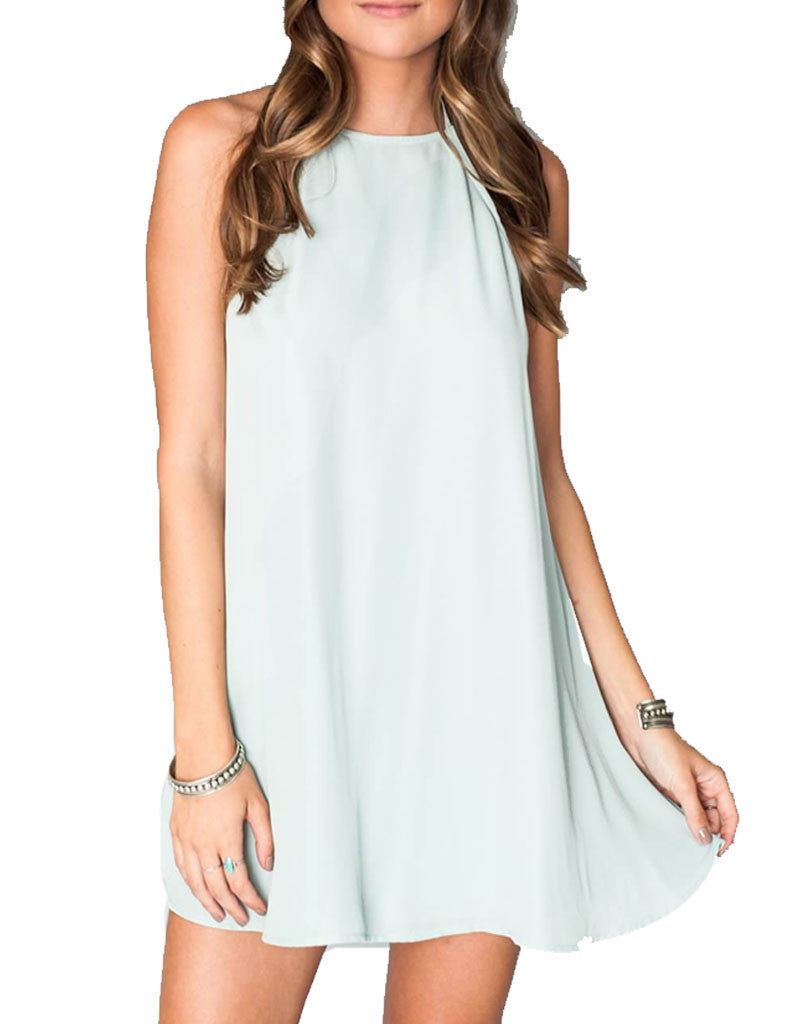 Show Me Your Mumu Katy Halter Dress in Sea Mist Crisp - SWANK - Dresses - 6
