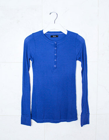 Michael Lauren Kipling L/S Fitted Henley w/Snaps in Seaport