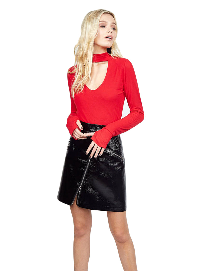 Michael Lauren Laurence Mock Neck Cut Out Top in Cardinal