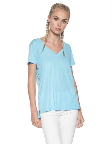 Michael Lauren Layton V-Neck Tee w/Side Slit in Mermaid