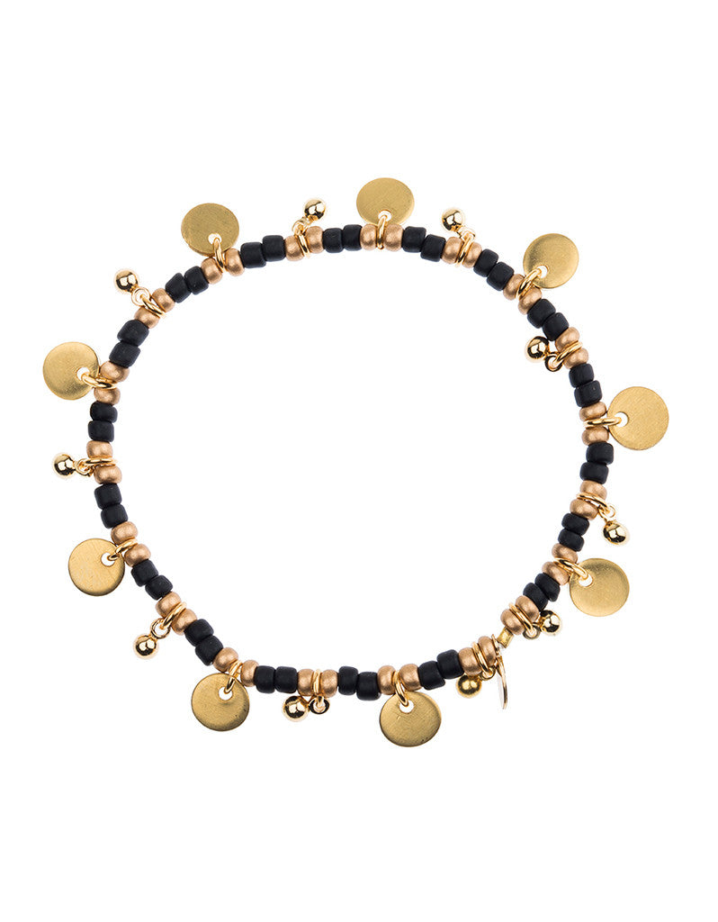 Shashi Lilu Ball Disc Stretch Bracelet in Black
