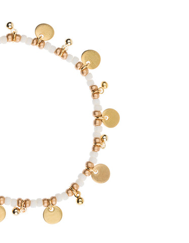 Shashi Lilu Ball Disc Stretch Bracelet in Bone