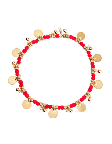 Shashi Lilu Ball Disc Bracelet in Red