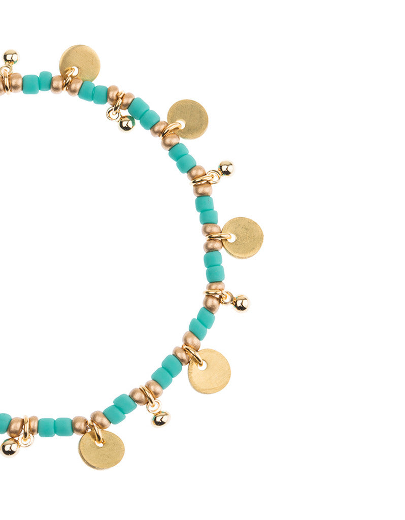 Shashi Lilu Ball Disc Stretch Bracelet in Turquoise