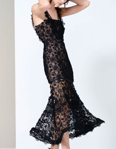 Alexis Lorelle Long Dress in Black Lace