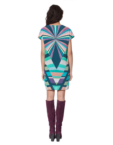 Mara Hoffman Prism Tunic Crepe Dress in Teal