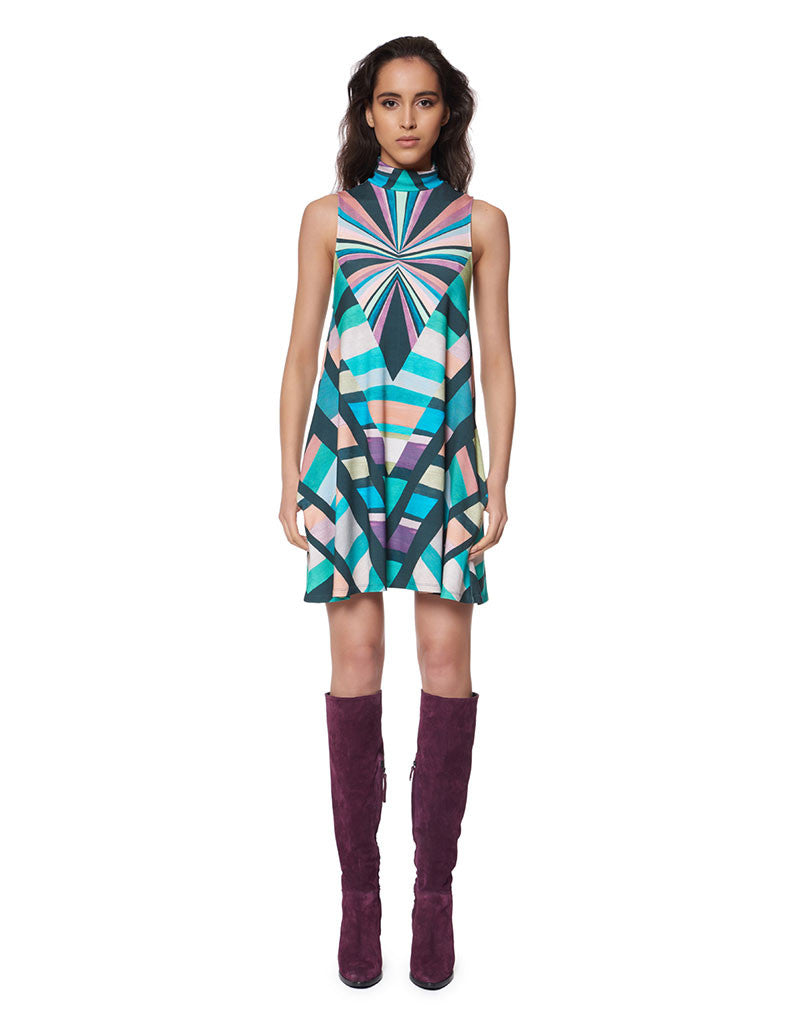 Mara Hoffman Prism Turtleneck Swing Dress in Teal - SWANK - Dresses - 1