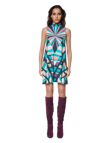 Mara Hoffman Prism Turtleneck Swing Dress in Teal