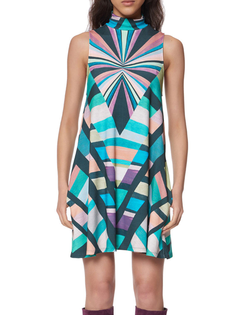 Mara Hoffman Prism Turtleneck Swing Dress in Teal - SWANK - Dresses - 2