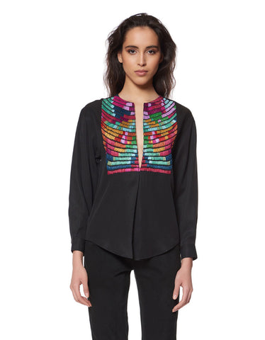 Mara Hoffman Radial Embroidered Pleat Front Shirt