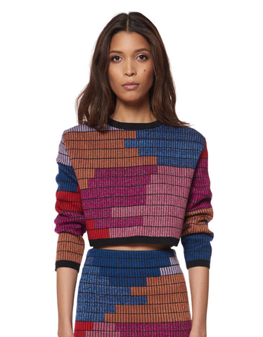 Mara Hoffman Radial Knit Cropped Sweater in Raspberry
